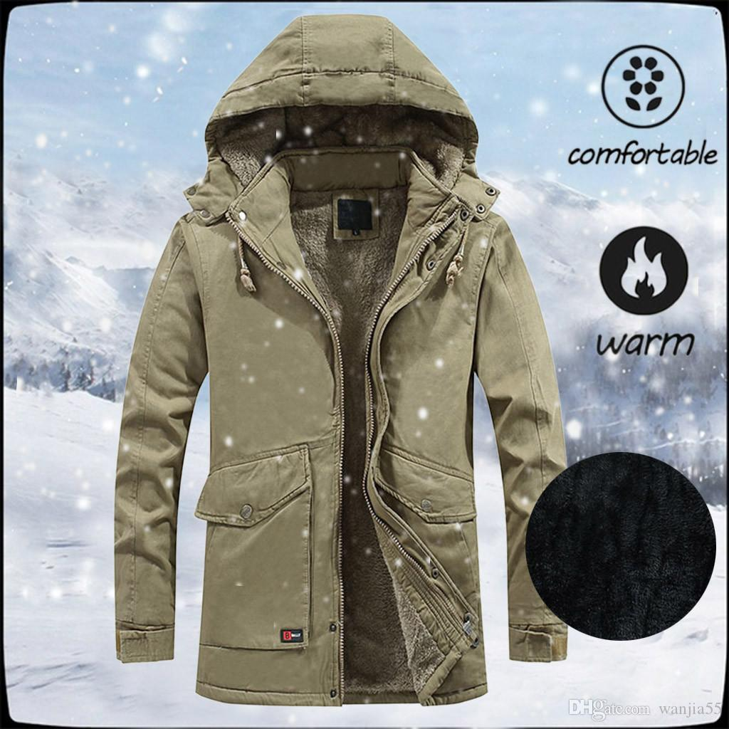 2019 New Men's Autumn Winter Warm Casual Zipper Long Sleeve Hooded Coat Stylish Design Outdoor Sport Hiking Jacket Camp Clothes