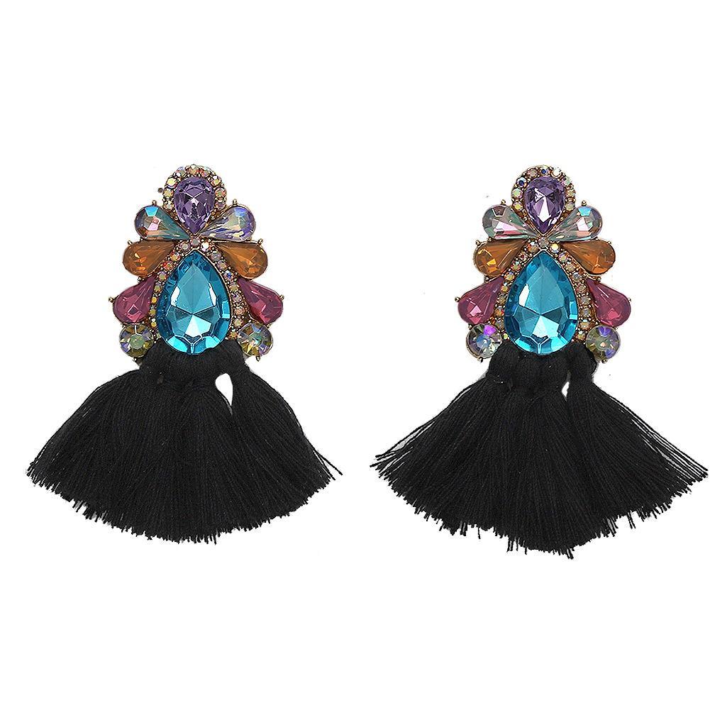 Gros- design de luxe de la mode exagérée belle boucles d'oreille de diamant pompon fleur de cristal coloré scintillante pour les femmes filles