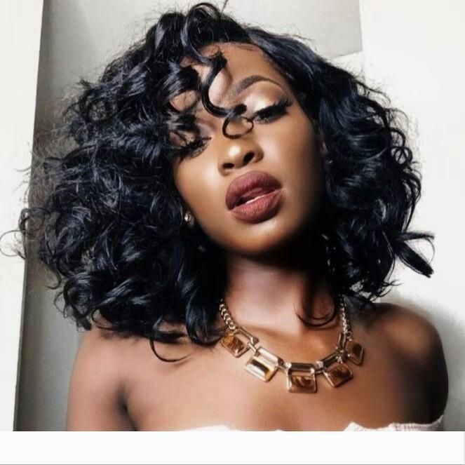 Court Lace Front Wigs Cheveux 250% Densité Curly Bob perruques pour les femmes noires brésilienne Vierge cheveux dentelle perruque avec bébé cheveux 14inches