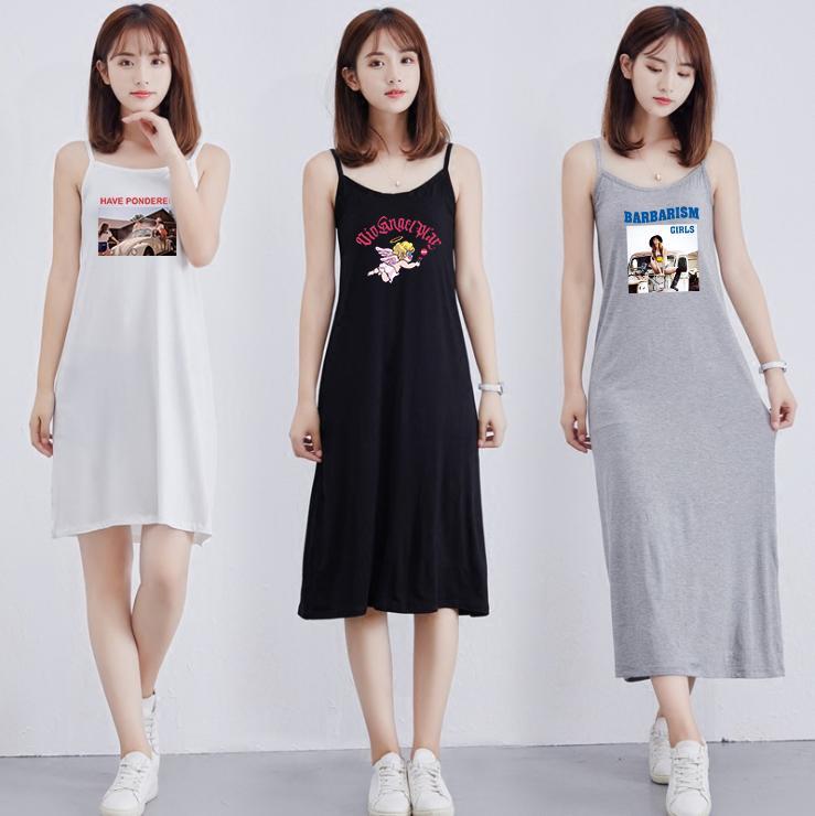 Robe de mode féminine d'été du Nouveau Respirant Tendance Casual demi-longueur Jupe Robe imprimée Motif Taille M-XL
