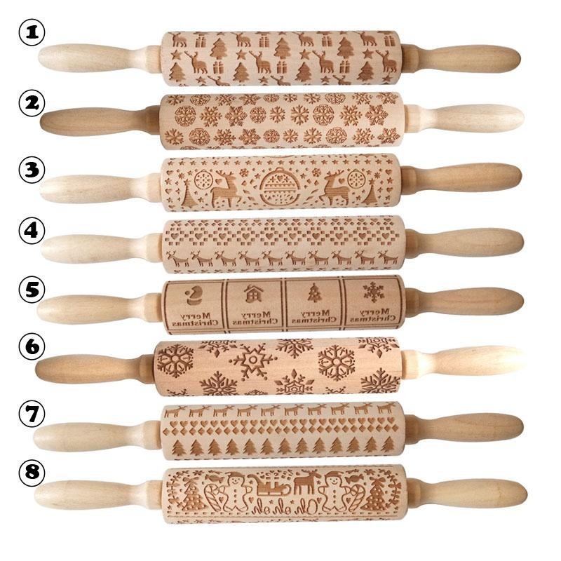 Embossing Christmas Rolling Pin ECO Wooden Christmas Engraved Carved Embossing Rolling Pin Dough Stick Baking Kitchen Pastry Tool