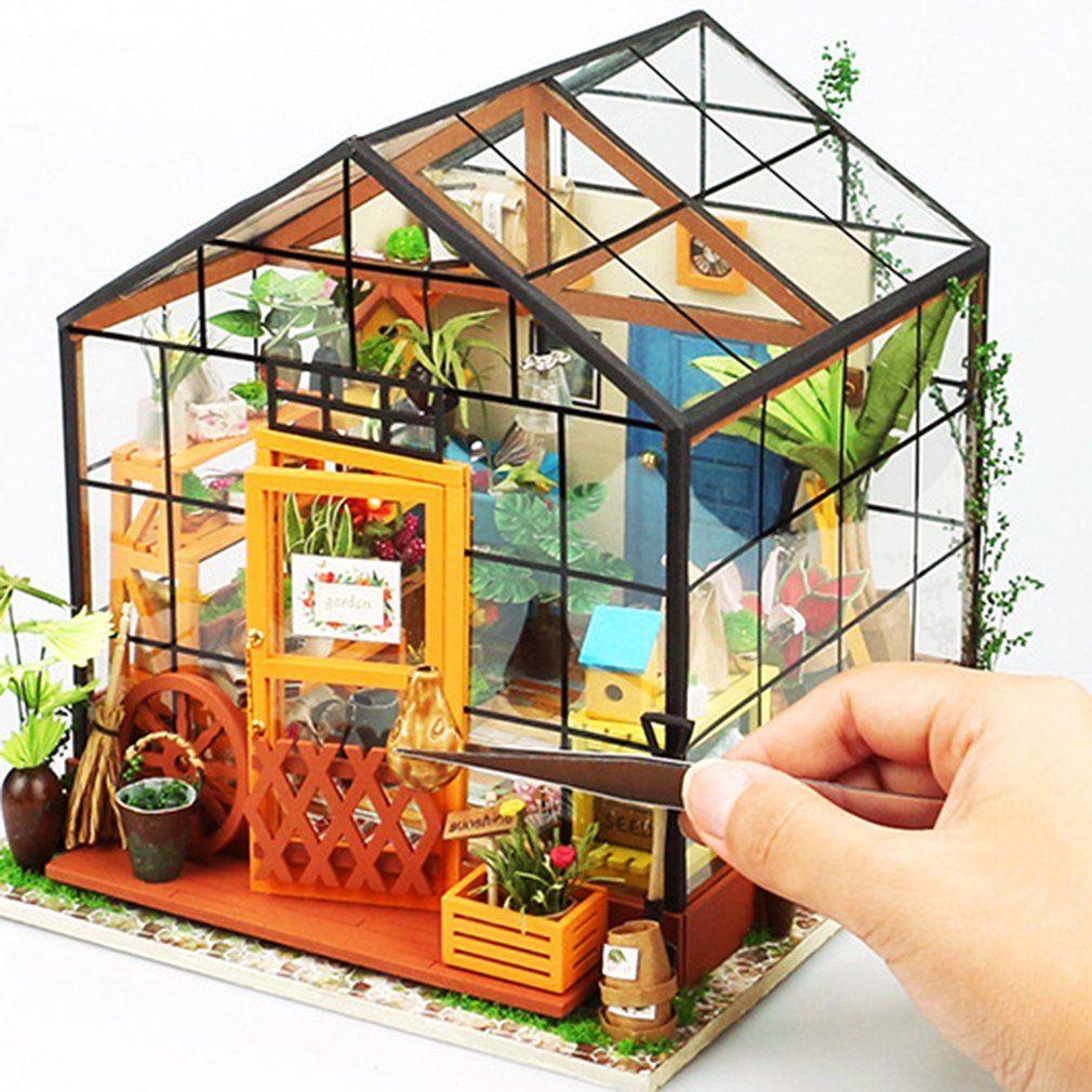 Dollhouse İçin Doll Robotime 3D DIY Ahşap Puzzle Minyatür Mobilya İnşaat Modeli Ev Dekorasyon Woodcraft Hediye İçin Çocuk