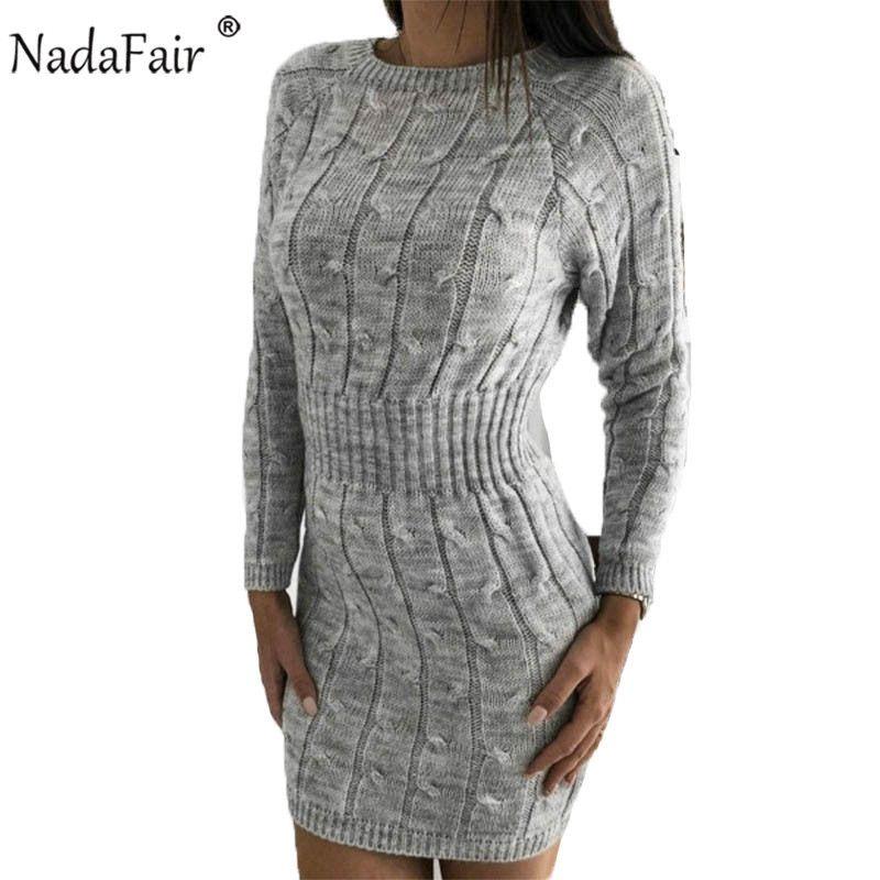 Nadafair Sweater Dress Women Autumn Mini Long Sleeve Elegant Pink White Black Knitted Bodycon Winter Dress Ladies Vestidos T200106