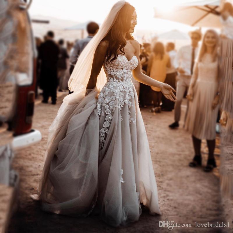 sexy côté haut split robes de mariée charmante plage chérie dentelle Appliqued 3d tulle fleur Un mariage ligne Robes 2019 pas cher