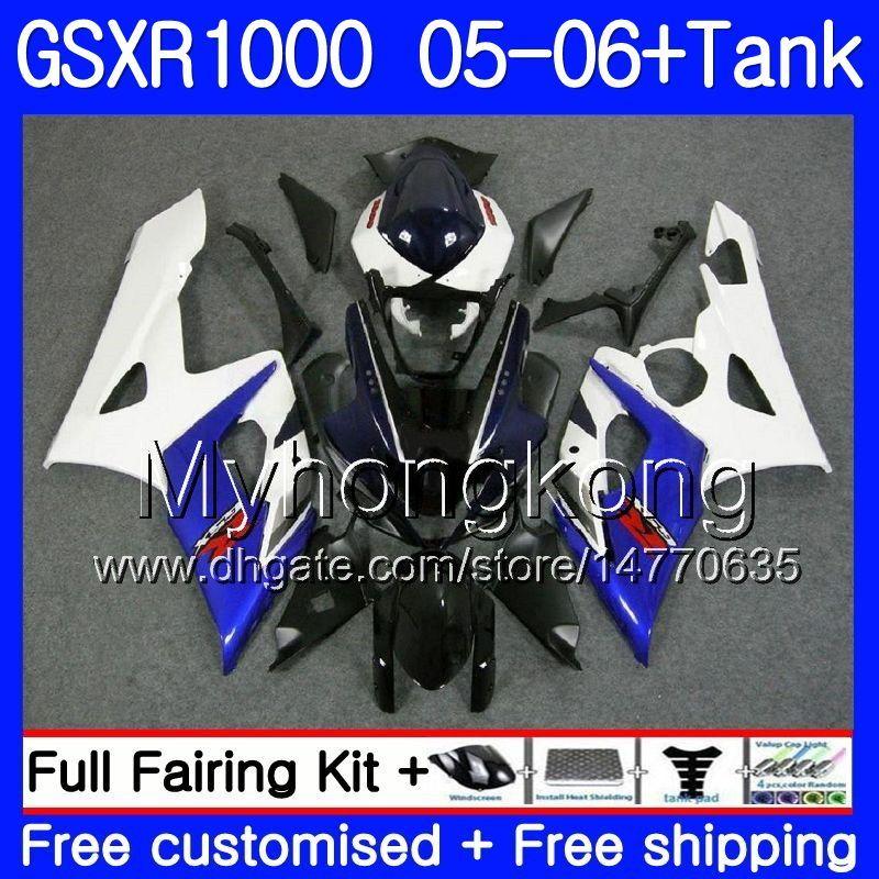 Kit+Tank For SUZUKI GSXR-1000 1000CC GSXR 1000 05 06 Body 300HM.2 GSX-R1000 1000 CC GSX R1000 K5 blue white top GSXR1000 2005 2006 Fairing