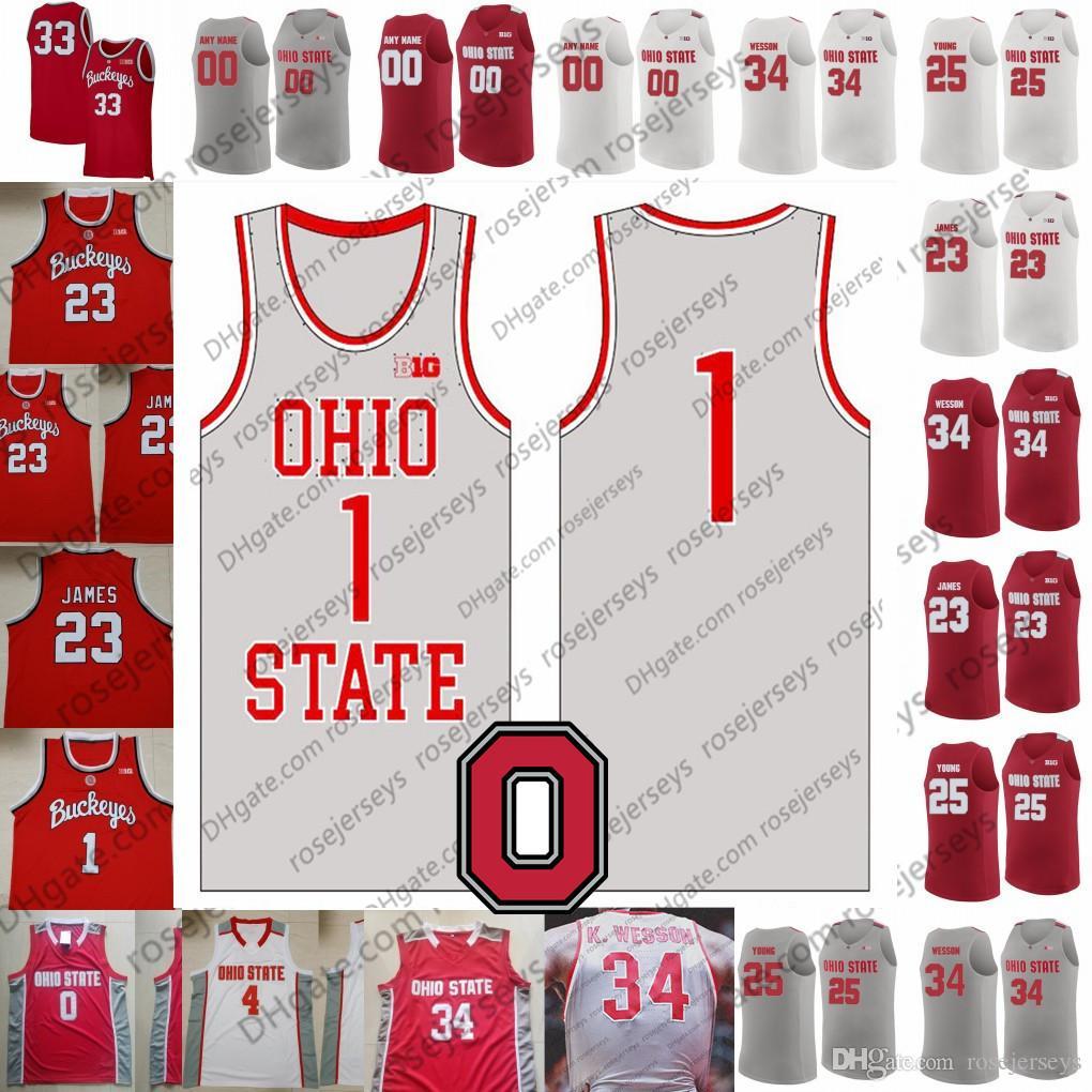 Пользовательские Ohio State Buckeyes 2020 Серый Ретро Баскетбол Белый Красный # 3 DJ коробки 34 Kaleb Wesson 23 Джеймс Конли Craft Рассел Леброн Джерси
