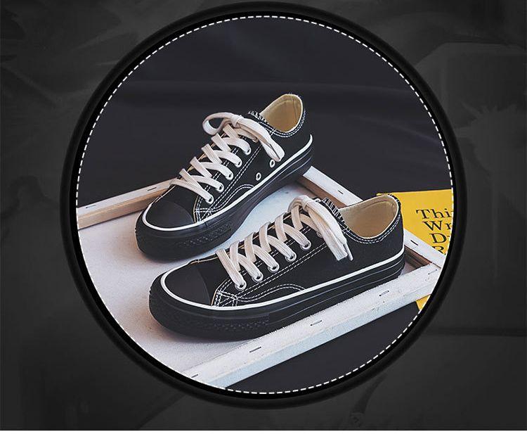 Calçados Femininos 2020 Primavera Nova Alta Flat Top Sneakers Casual cor sólida Shoes personalidade feminina sapatos tendência de lona 36-40