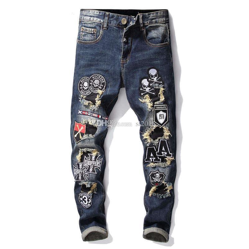 Original designer Retro Nostalgia Slim Skinny Denim Jeans For Men Casual Men Punk Style Long Pants Trousers Brand Robin Biker Jeans 29-38