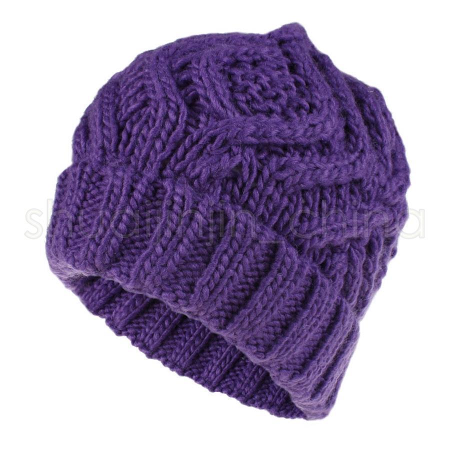 Женщины вязаные шапочки шляпы мода Алмаз квадратный мягкий грубый вязаный колпачок открытый зима теплая партия череп шляпы TTA1532-1