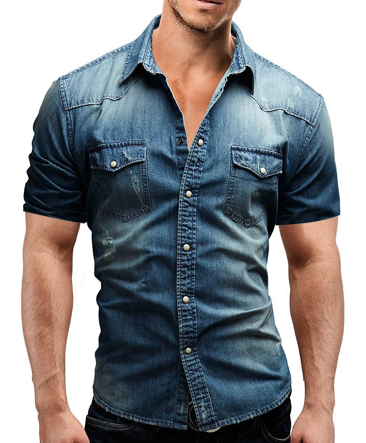 HaiFux 2018 nuevos hombres Jeans camisas de algodón lavado del agua del verano Superior Masculina flor de manga corta Imprimir dril de algodón camisa de los hombres T200622