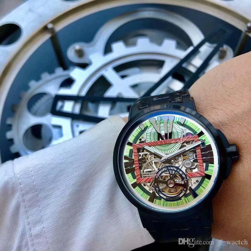 Mekanik lüks saatler kafatası hareketi moda rahat erkek saatleri çin paslanmaz çelik lüks mekanik erkek saatler dial