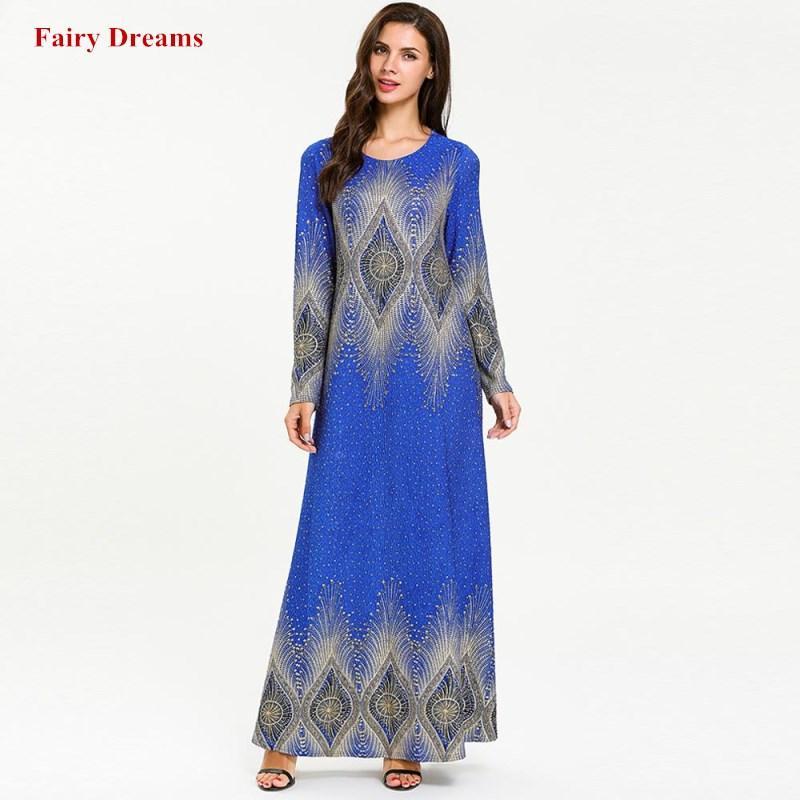 Женщины Абая Плюс Размер Одежды 4XL С Длинным Рукавом Синее Мусульманское Платье Печати Кафтан Дубай Исламская Одежда Малайзия Турция Халат 2019