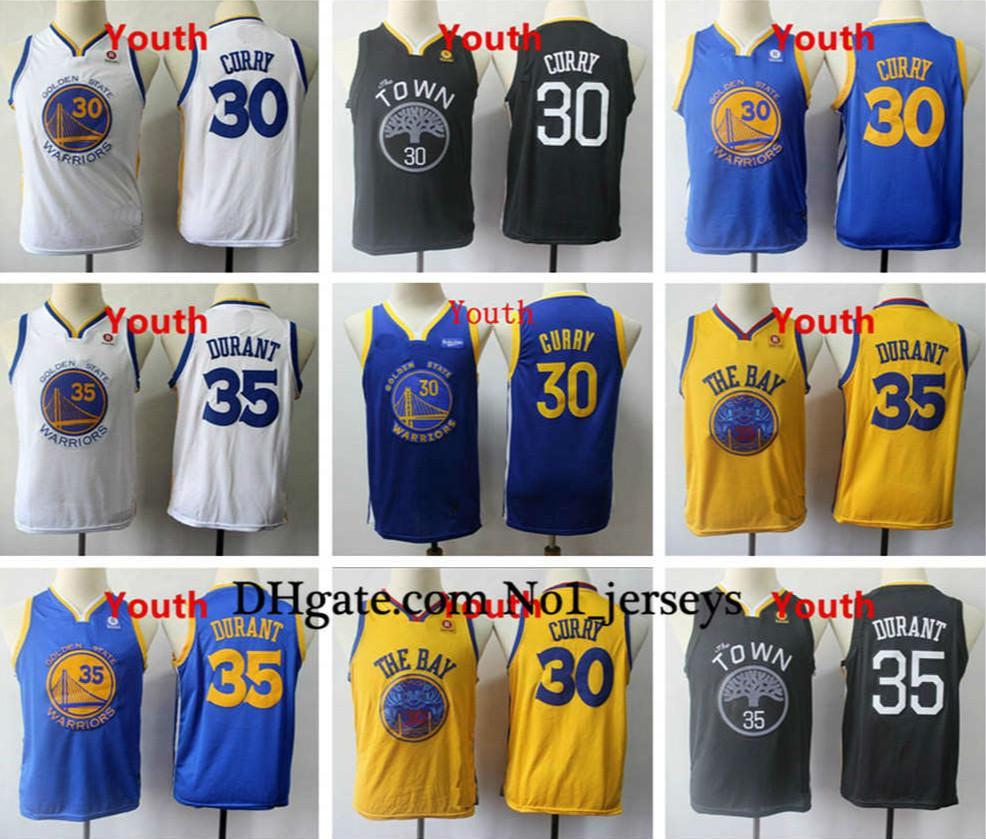 Jugend Stephen Curry 30 Goldenes Kid Authentisches genähtes 35 Kevin Durant Weinlese-goldeneZustandKriegerJugend-Basketball-Trikots