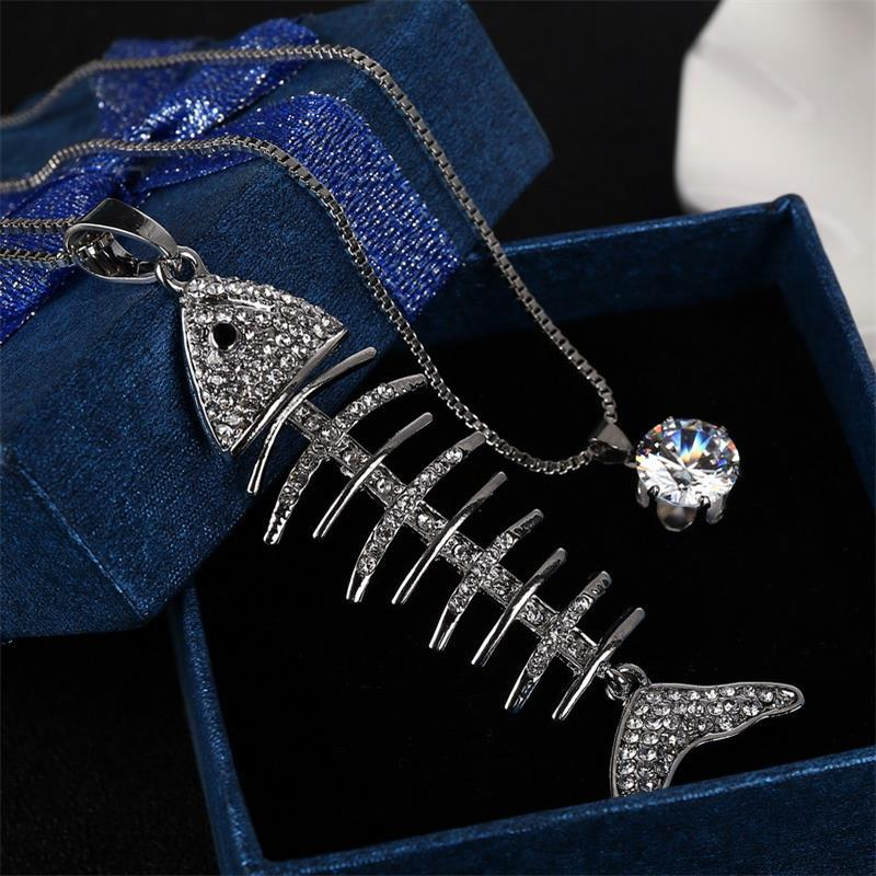 Fashion Jewelry Necklace MINHIN New Arrival Fashion Fish Bone Design Pendant Necklace Personality Synthetic Rhinestone Decoration Jewelry