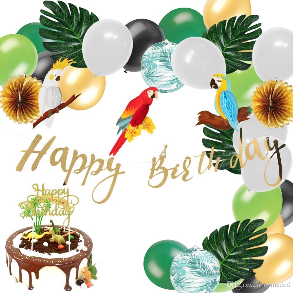 Jungle Party Decoration Set Honeycomb Parrot Happy Birthday Banner Cake Topper Palm Leaves Paper Lantern Balloons Safari Shower