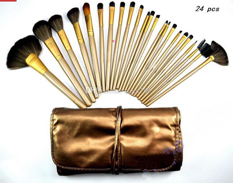 جودة عالية عارية جديد # 3 البني 24 قطعة / مجموعة فرش الماكياج المهنية مع الحقيبة الجلدية