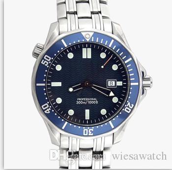 Outdoor Planet Mestre Oceano Aço Inoxidável Cinta Dobrável Fecho 43 MM Mostrador Azul Automático Mens Relógios de Pulso Relógio Homem