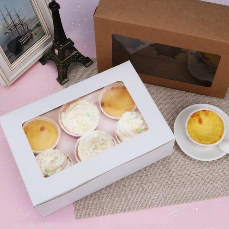 2020 Windowed Cupcake Boxes White Brown Kraft Paper Box Gift Packaging For Wedding Festival Party 6 Cup Cake Holders Customized LX1864