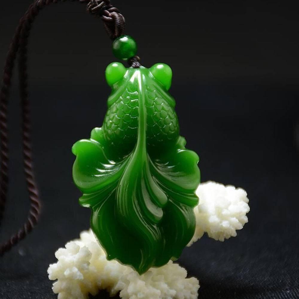 Chinese Exquisite Natural Jadeite Goldfish Hand-carved Jadeite Jade Carved Goldfish Pendant