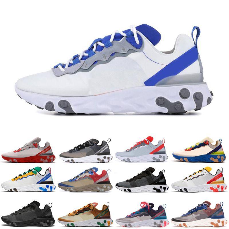 nike react element 55 87 bred zapatillas de running hombre mujer triple negro blanco tour amarillo hombre zapatillas de deporte al aire libre zapatillas de deporte