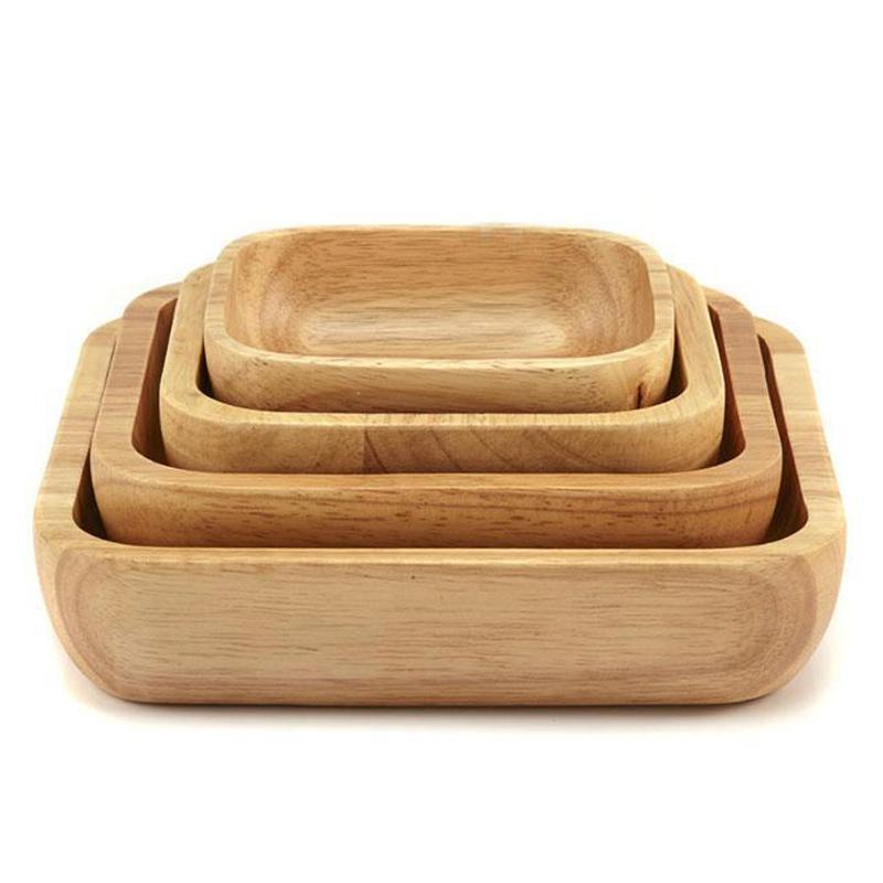 4pc Kare Ahşap Kase Salata Kase Seti Ahşap Levha Snack Tatlı Servis Bowl Gıda Konteyner Ahşap Sofra