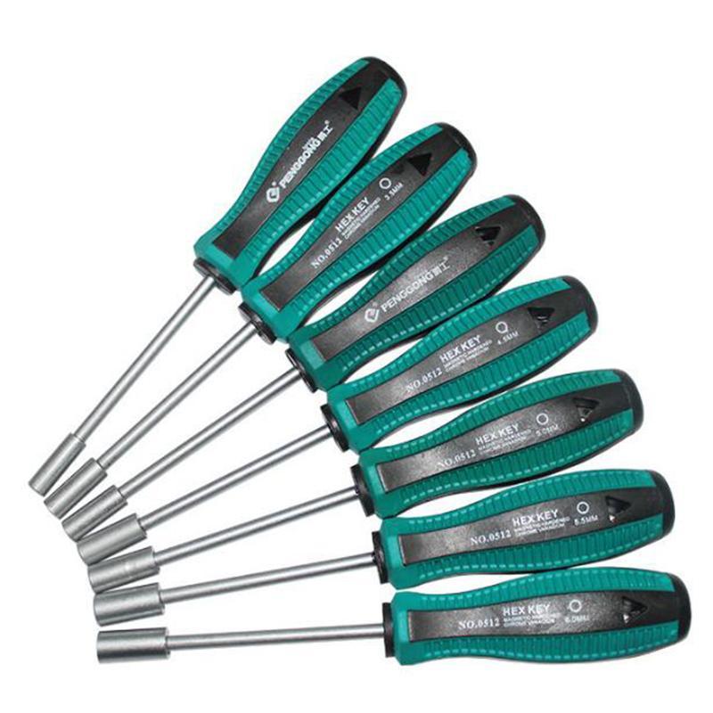 Attrezzi manuali 1pc chiave a bussola 3/4/5 / 5,5 / 6/7/8/10/14 millimetri di metallo Dado esagonale chiave a mano Cacciavite Cacciavite