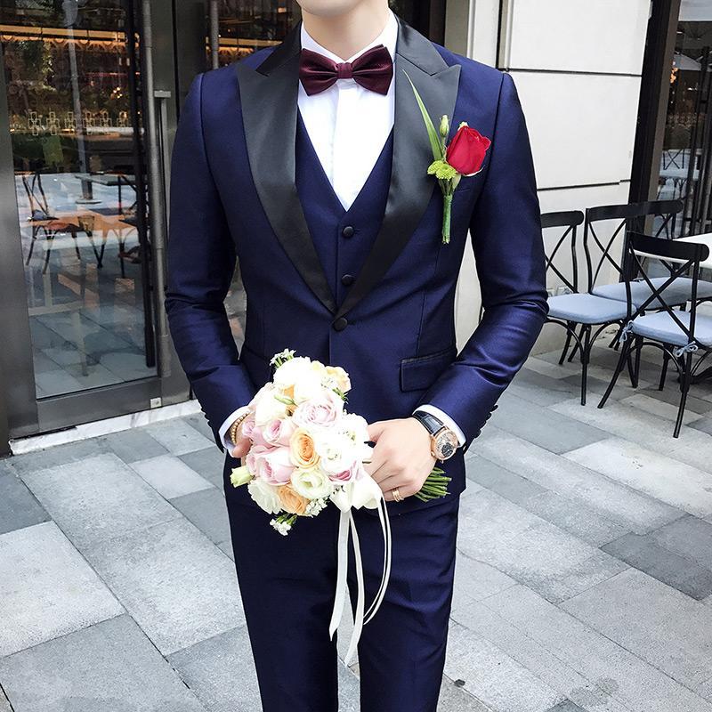 Schal Kragen Anzüge Männer 2019 Slim Fit Neueste Mens Hochzeit Anzüge Rauchen Homme Mariage 3 Stücke Dinner-Party Prom Violet Suit Q532