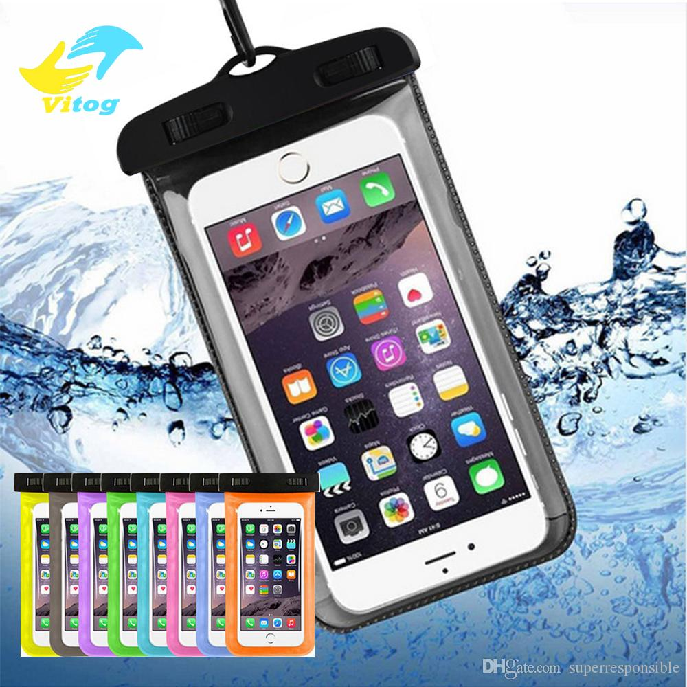 Dalış Yüzmede için Vitog Kuru Çanta Su geçirmez kılıf çanta PVC evrensel Telefon Çanta Kılıfı ile Pusula Çanta 5.8 inç kadar akıllı