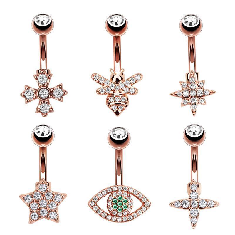 Kadınlar Altın Kaplama Çapraz Göz Yıldız Arı Kristal Göbek Düğme Halkalar Göbek Navel Piercing Paslanmaz Çelik Piercing Halter N166