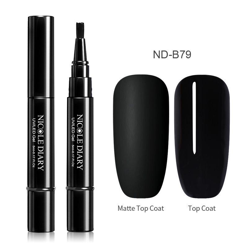Nail UV Gel Polish Nail Varnish Pen One Step 3 In 1 Nail Art Color Gel Matte Top Coat Soak Off