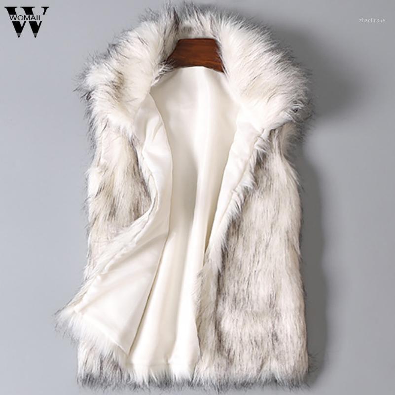 Lane delle donne della maglia colorata casuale Faux Fur Coat Faux delle signore gilet di pelliccia del cappotto del collare del basamento jacket1