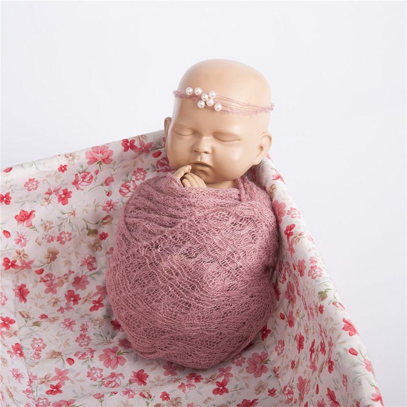 2 Adet / set Bebek Fotoğrafçılık Dikmeler Battaniye sarar Stretch Örme Wrap Fotoğraf Yenidoğan Bezi Aksesuarları Headdress