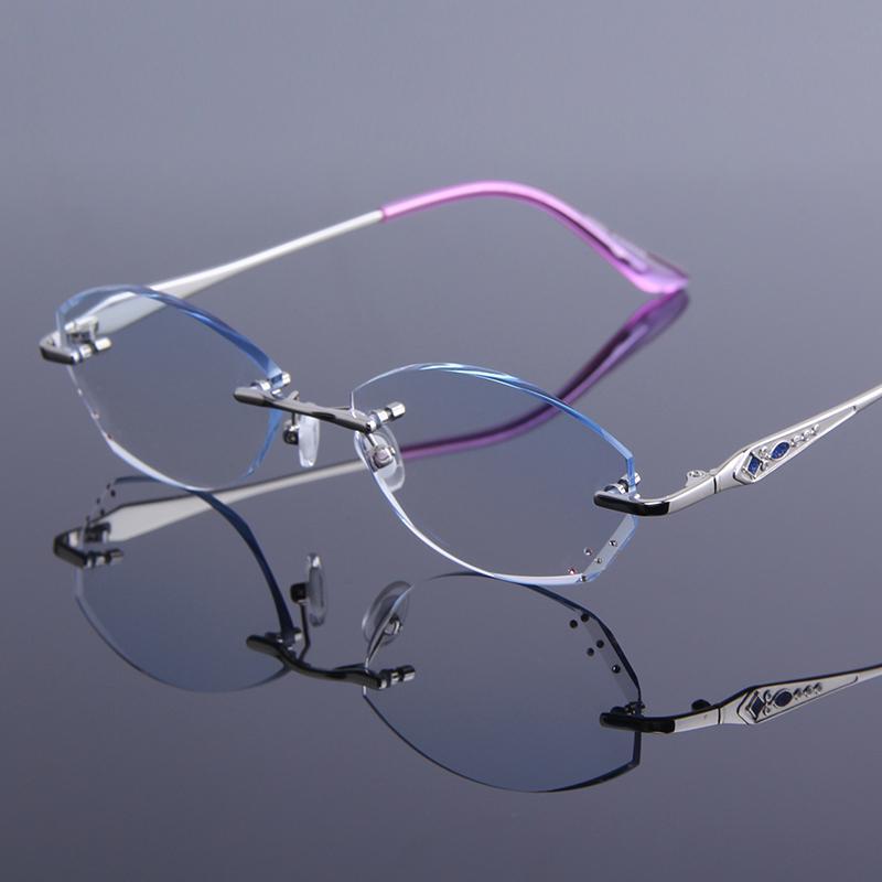 De lujo sin montura gafas de lectura Mujeres Moda Marca Hipermetropía Presbicia Ultraligero antifatiga duro recubrimiento de resina Gafas