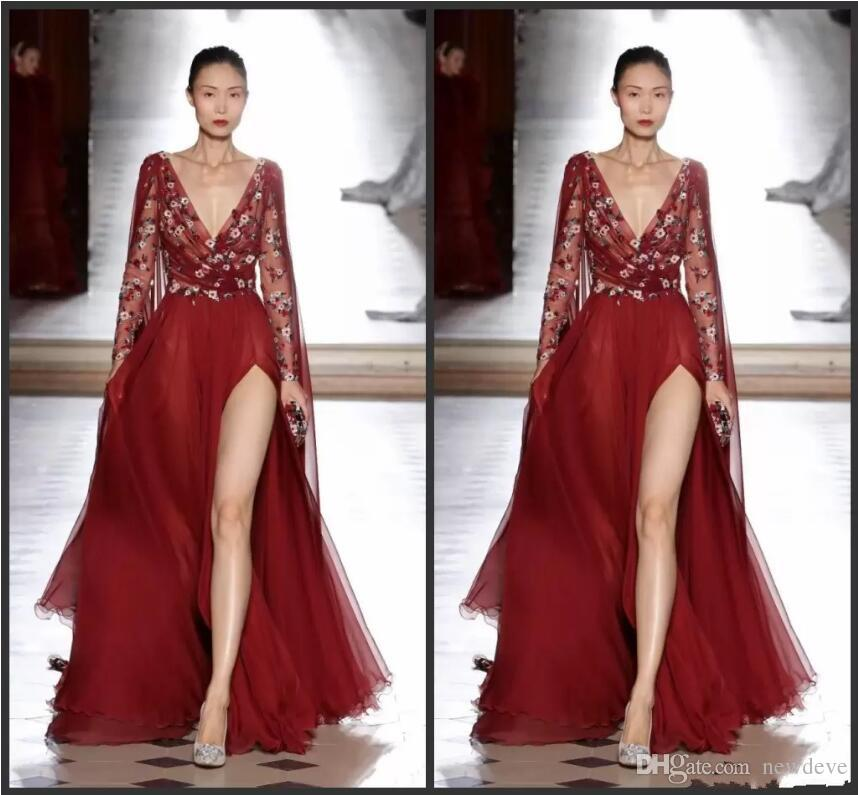 Compre Vestidos De Noche De Tony Ward 2020 Vestidos De Noche Manga Larga Lado Dividido Rojo Bordado Vintage Vestidos De Fiesta Vestido De Fiesta Con