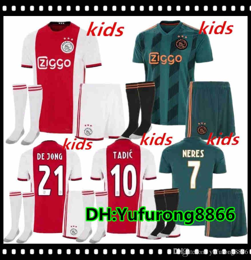 2019 2020 AJAX FC Soccer Jerseys Home Kids Kits Enfants 19/20 Personnalisé # 7 Neres # 10 Tadic # 4 de Ligt # 22 Shirt de football Ziyech # 22