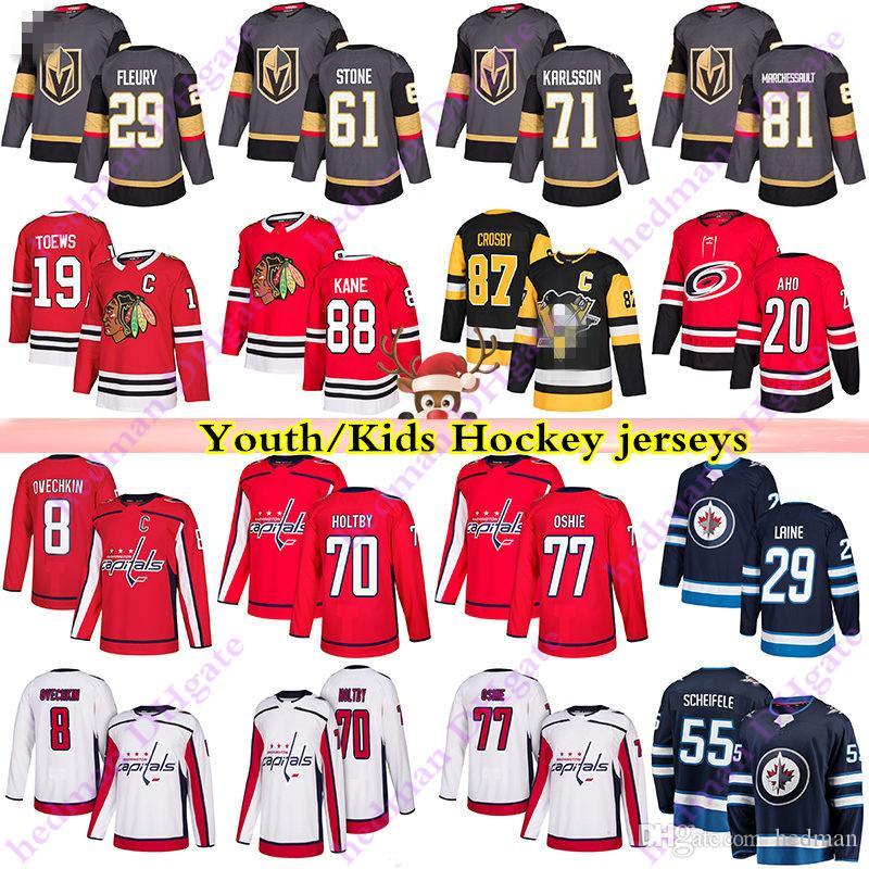 Giovani bambini Jerseys 29 Fleury 61 Ston 71 Karlsson 29 Laine 8 Ovechkin 77 Oshies 19 Toews 88 Kane Crosby Aho Hockey Jersey