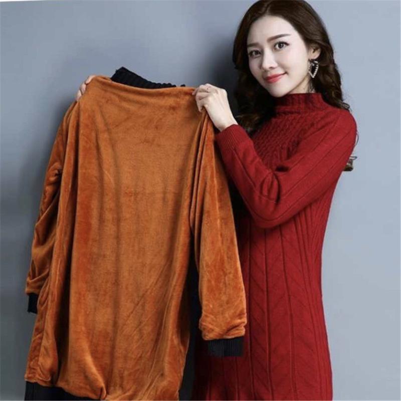 Caduta della camicia di grandi dimensioni passo lungo maglia / inverno nuova più il vestito soffice per le donne maglione Plus Size abiti invernali dolcevita donne