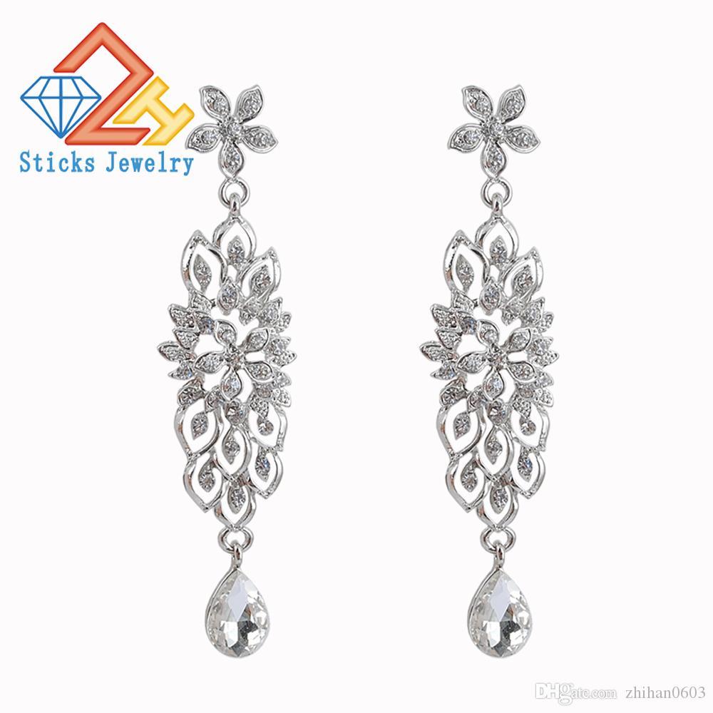 Orecchini di goccia di nozze di cristallo per le donne coreano nuziale ciondola orecchini 2019 gioielli di moda