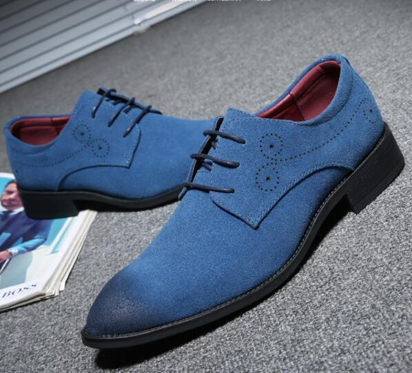 Mens lace-up Suede Dress Shoes Leather Flats Wedding Office Oxfords Shoes For Men Pointed toe Formal shoes large size 47 48