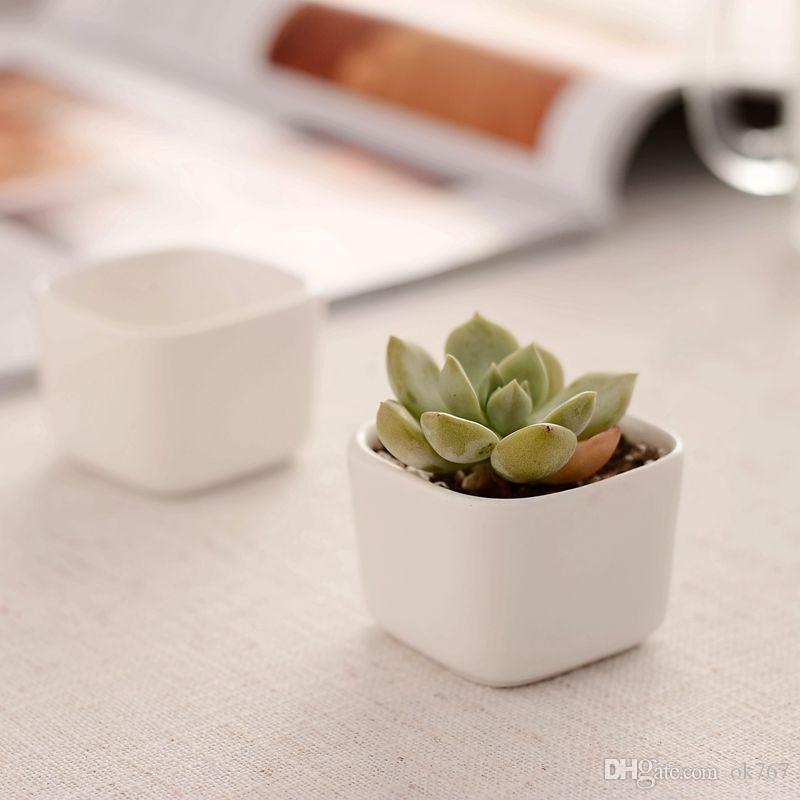 Neue weiße minimalistisch kreative zakka Mini Keramik Sukkulenten Töpfe Desktop-Bonsai-Pflanzer Blumentöpfe Garden Supplies