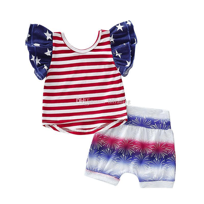 Детская дизайнерская одежда для девочек Американский флаг наряды для детей Звездная полоса Топы + шорты 2 шт. / компл. 4 июля мода детская одежда Наборы C6671