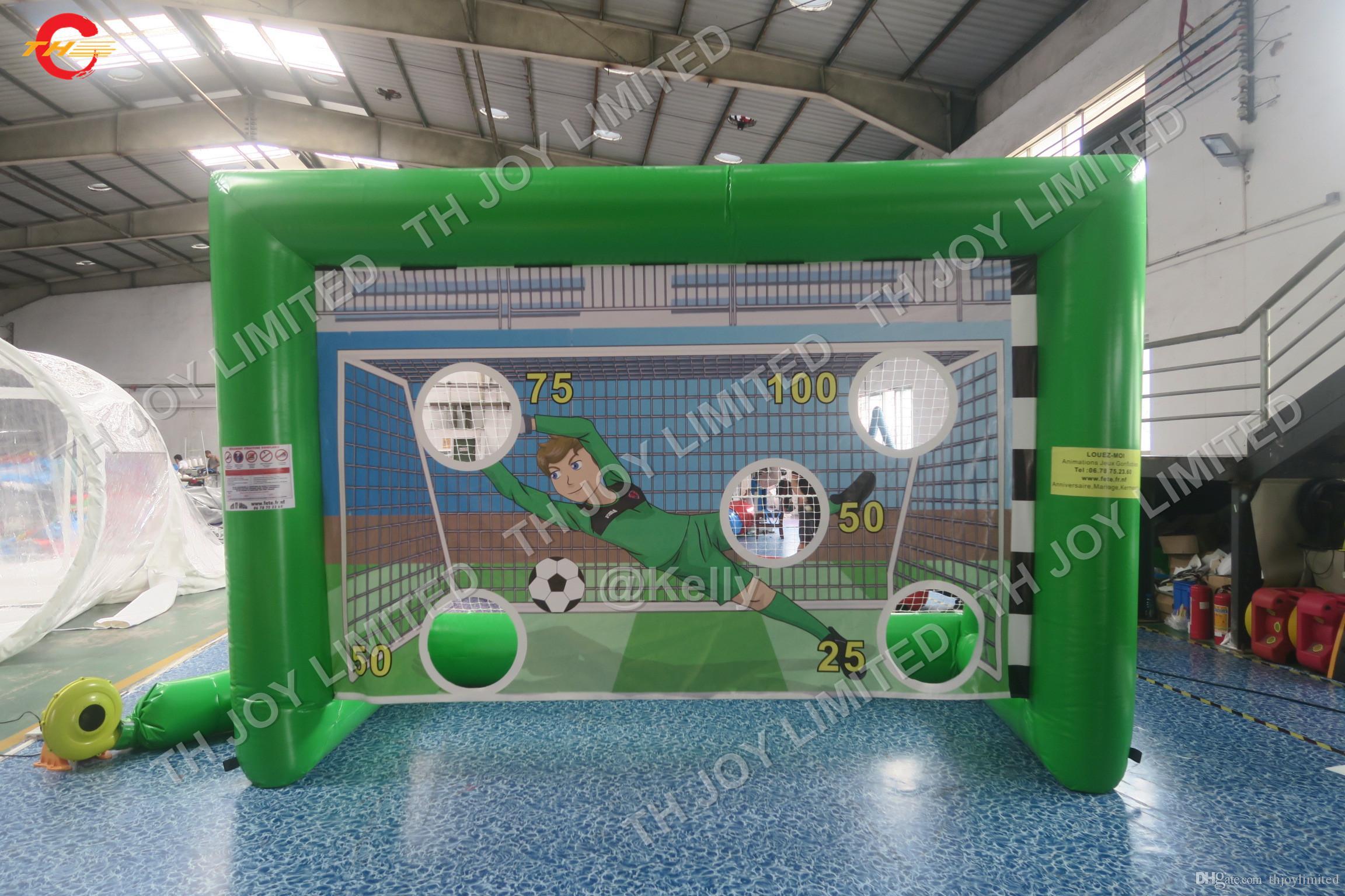 4x2x2.5mH هدف رخيصة نفخ هدف كرة القدم نفخ صافي مخصص كرات نفخ لعبة القذف