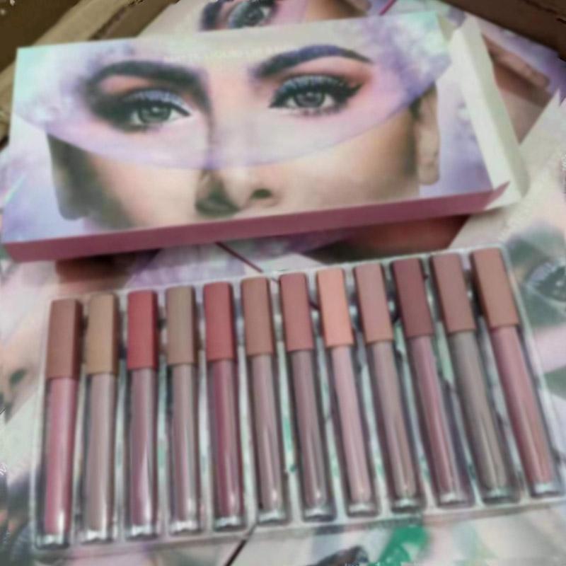 Beauty 12colors Matte Flüssiges Lippenstift Kit Lipgloss Marke Designer Make Up With DHL-freies Verschiffen Lipgloss 12pcs / Set