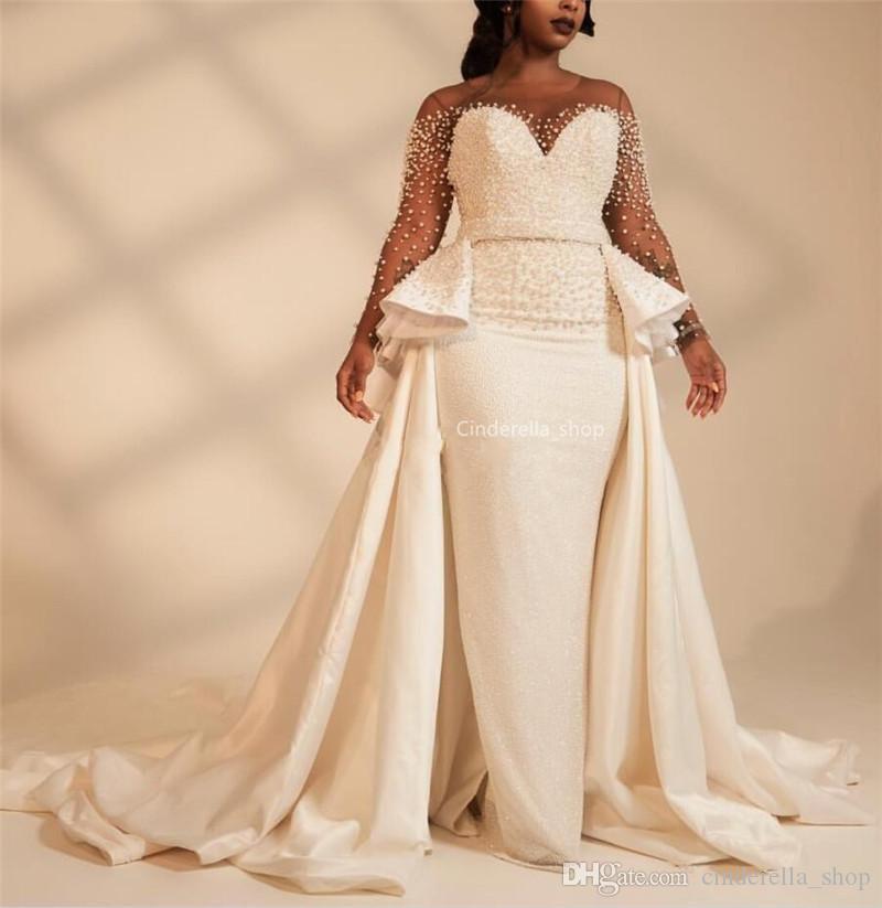 Africano mangas compridas Plus Size sereia Vestidos de casamento com Overskirt Sheer Illusion Neck Pérolas frisada do vestido de casamento vestidos de noiva Vestidos