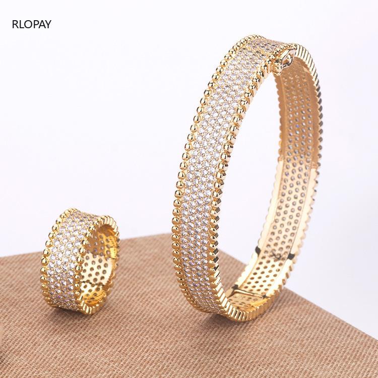 Bangle Top Qualität Kupfer Armbänder für Frauen Full Cubic Zirkon Seite Open Ring Set Luxus Braut Hand Schmuckstück