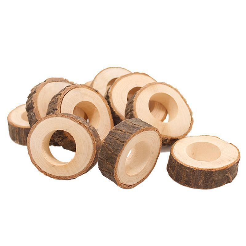 Wooden Napkin Ring Countryside Wooden Napkin Buckle Wedding Hotel Restaurant Tablecloth Ring Party Banquet Table Decoration EEA1354-5