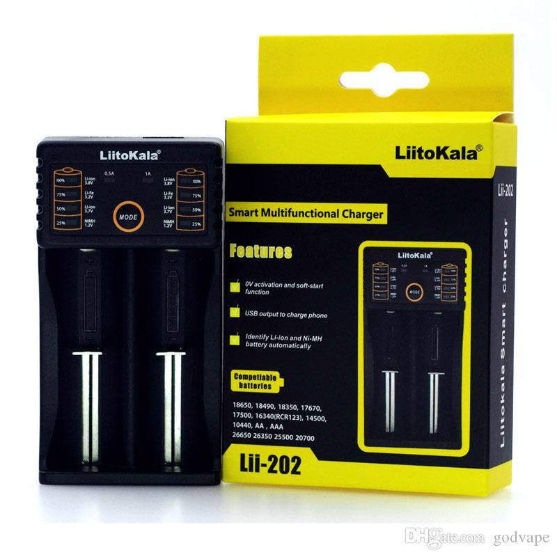 100 % Authentic Liitokala 202 배터리 충전기 소니 VTC5A VTC6를위한 보편적 인 리튬 건전지 충전기 18650 26650 20700 18350 14500 14650