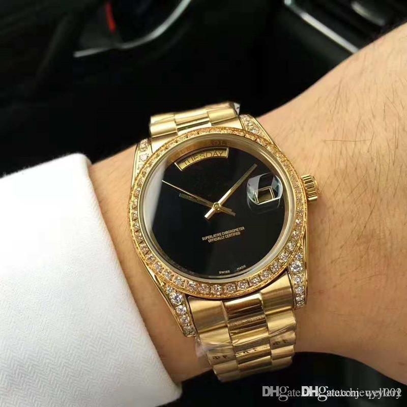New Fashion todo o ouro Automático Mecânica Mens Watch Relógios de pulso 40 milímetros diamante Stainess Aço relógio de luxo strass Mens Relógios