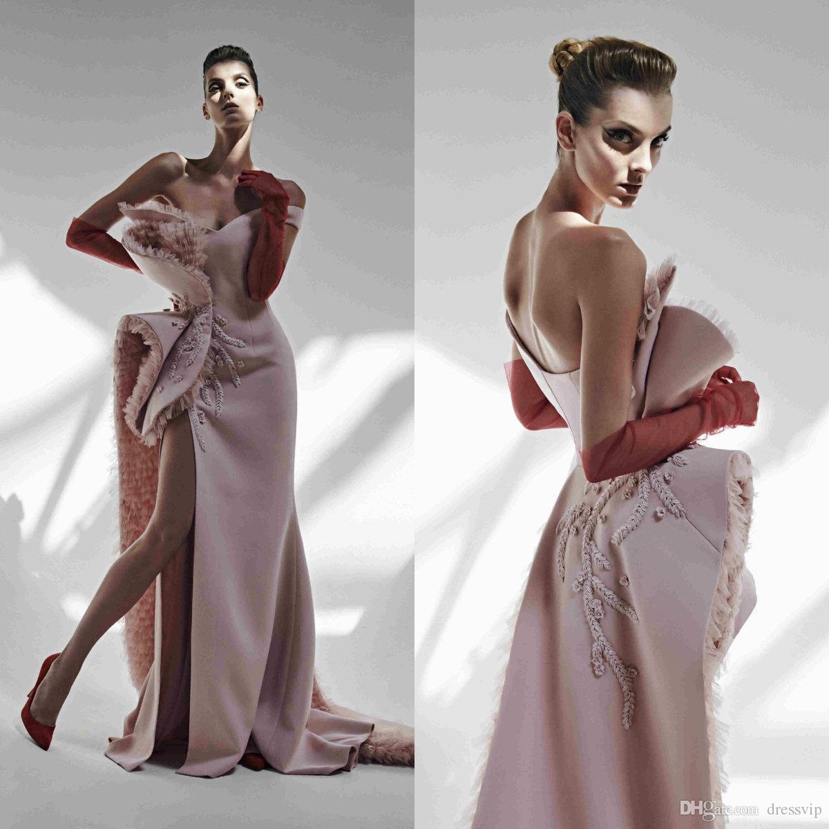 2020 Azzi & Osta Pink Evening Dresses Tulle Sweetheart Sweep Train Embroidery Mermaid Prom Dress Custom Made High Split Robes De Soirée