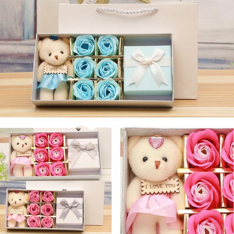 Savon à la main Bouquet de fleurs roses Oeillets boîte-cadeau de mariage Accueil Saint Valentin Fête des Mères de de, Thanksgiving, Noël